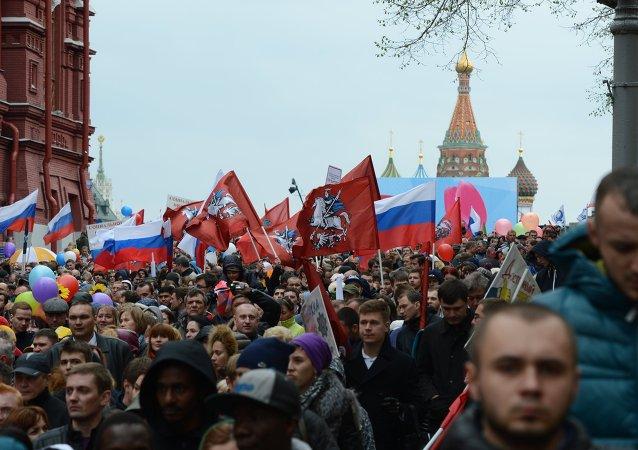 俄罗斯工会联合会在莫斯科红场游行庆祝五一劳动节