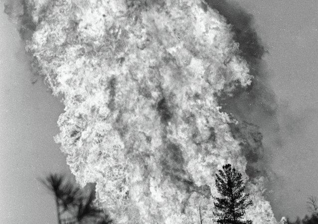 天然气井的火灾