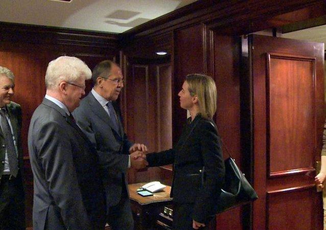歐盟:俄歐外長支持聯合國努力解決敘利亞和利比亞危機