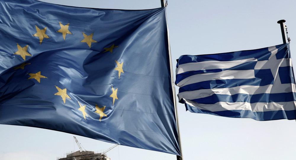欧盟和希腊旗帜