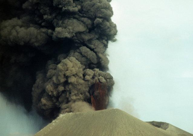 日本新岳火山喷发烟柱达9000米
