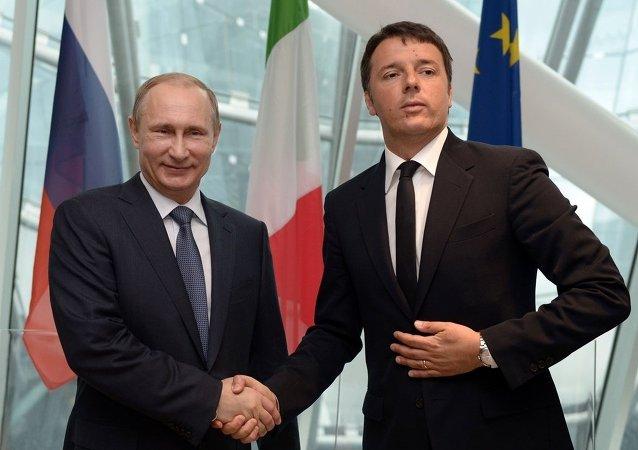 意大利总理伦齐与俄国总统普京/资料图片/