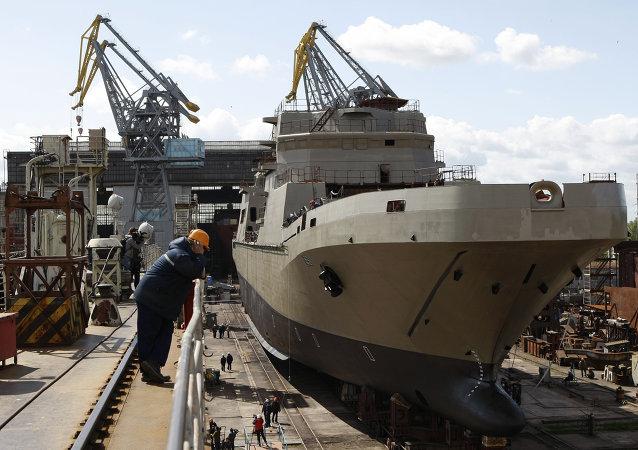 """加里宁格勒""""玛瑙""""造船厂俄海军登陆舰开始龙骨铺设"""