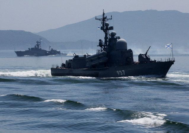 俄太平洋舰队作战舰艇支队已到访日本舞鹤港