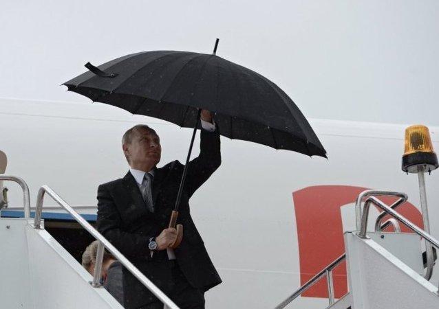 普京已抵达乌法参加金砖国家和上海合作组织峰会