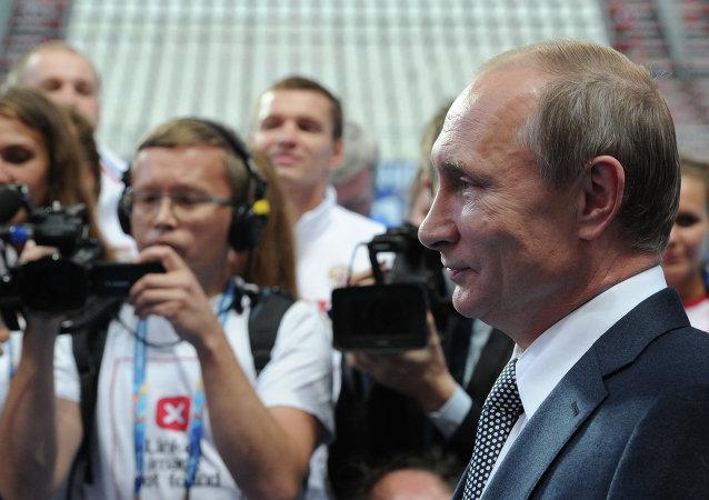 俄罗斯总统弗拉基米尔•普京接见俄罗斯水上运动队队员