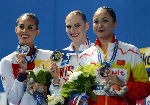 喀山游泳世锦赛花样游泳单人技术自选比赛俄女将夺冠