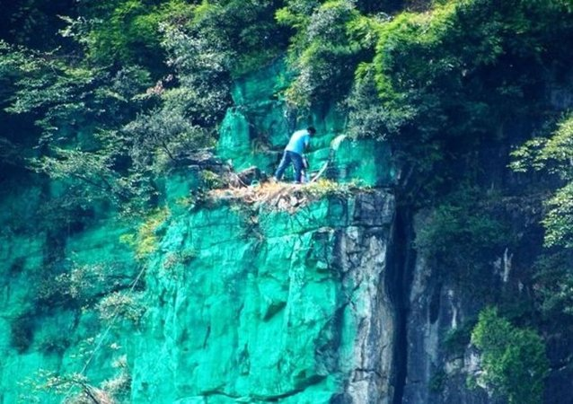 重庆村民替山喷绿漆