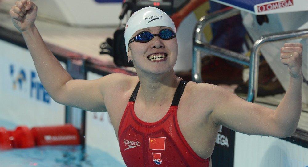 傅园慧夺得喀山世锦赛女子50米仰泳金牌
