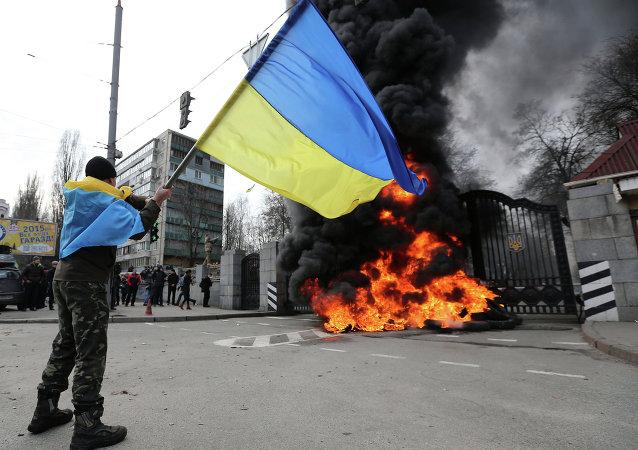 在位于基辅的乌克兰国防部前举行的抗议活动/资料图片/