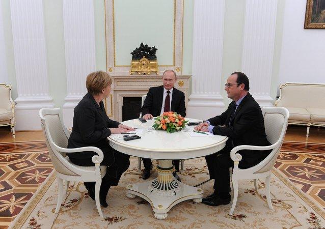 法德俄领导人认为在近星期举行诺曼底模式会晤或将有益