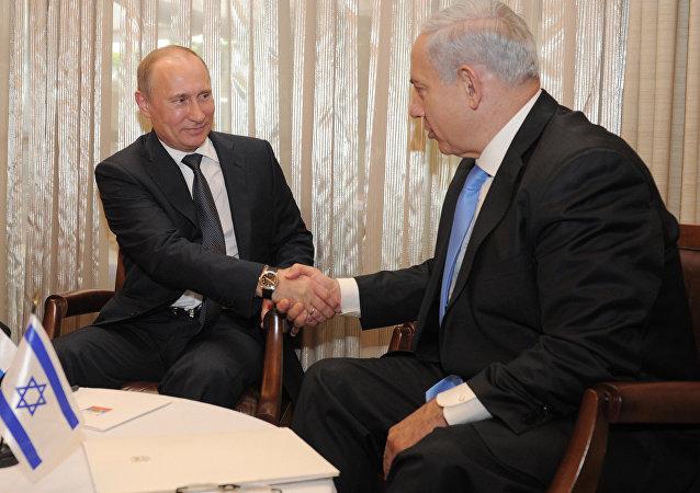 俄罗斯总统弗拉基米尔·普京和以色列总理本雅明·内塔尼亚胡