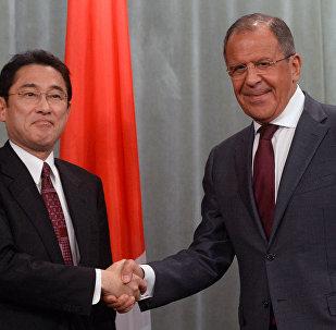 日本外相岸田文雄与俄罗斯外长拉夫罗夫