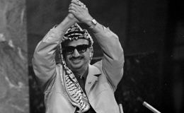 巴勒斯坦民族解放组织领导人亚西尔·阿拉法特向联合国大会致辞