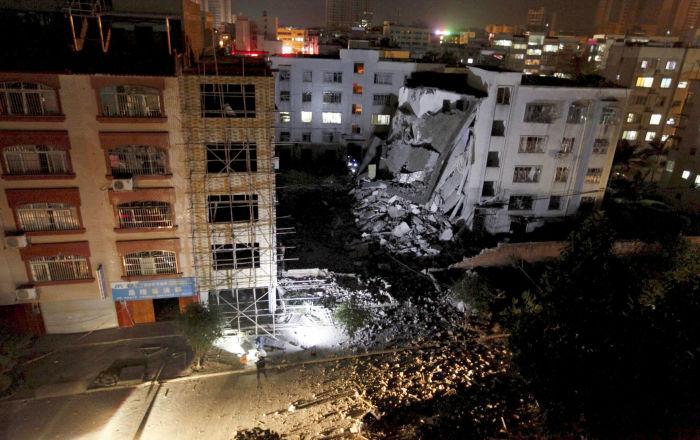 中国南部广西壮族自治区柳城县发生爆炸的居民楼
