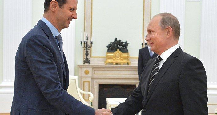 俄总统普京与叙总统阿萨德会面/资料图片/