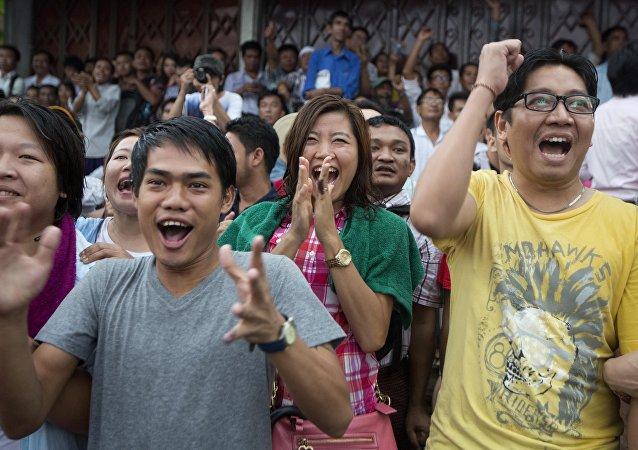 在缅甸的大选投票已经结束