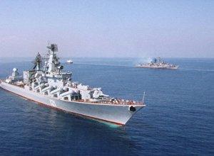 """""""莫斯科""""號巡洋艦占據拉塔利亞附近位置掩護俄戰機"""