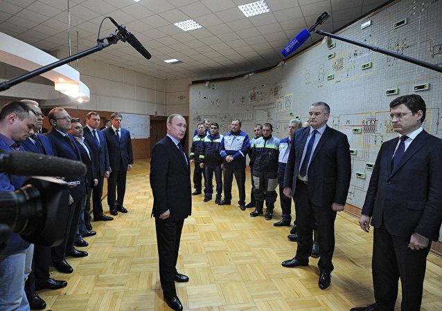 普京出席库班向克里米亚供电桥一期工程启动仪式