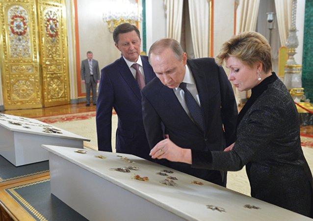 普京出席莫斯科克里姆林宫博物馆俄帝国勋章的转交仪式