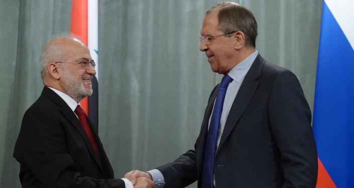 俄羅斯外長拉夫羅夫同伊拉克外長賈法里