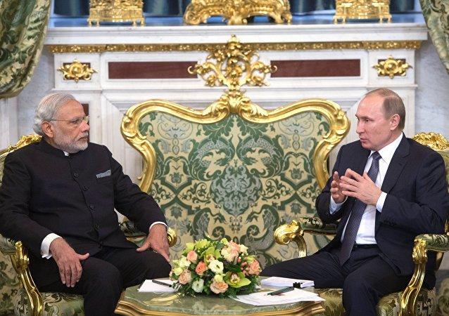 俄总统普京与印度度总理莫迪