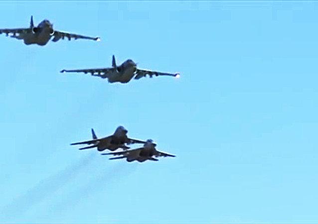 俄国防部称,俄罗斯空军与叙利亚空军首次在叙利亚上空共同完成战斗任务