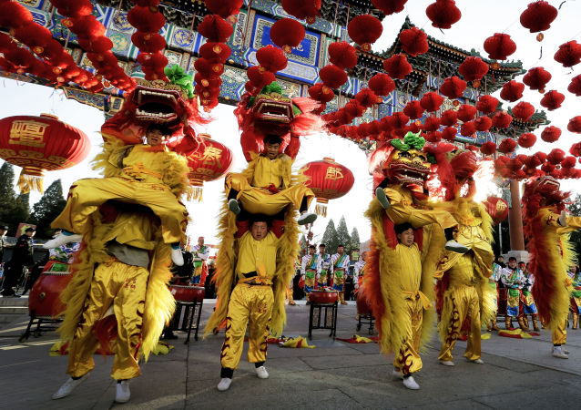 中国新年期间北京庆祝活动演出的参加者