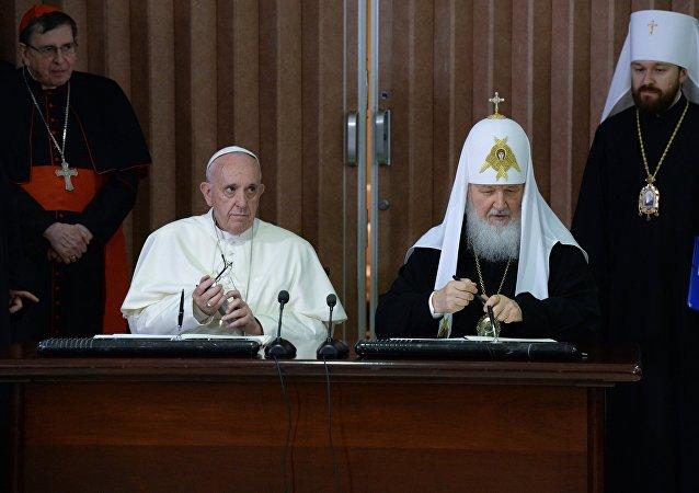 俄东正教大牧首与罗马天主教教宗会晤后通过联合宣言