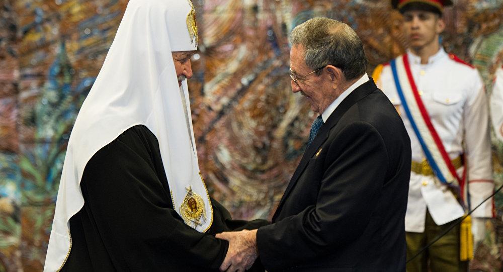 俄东正教大牧首与菲德尔·卡斯特罗在哈瓦那举行会晤