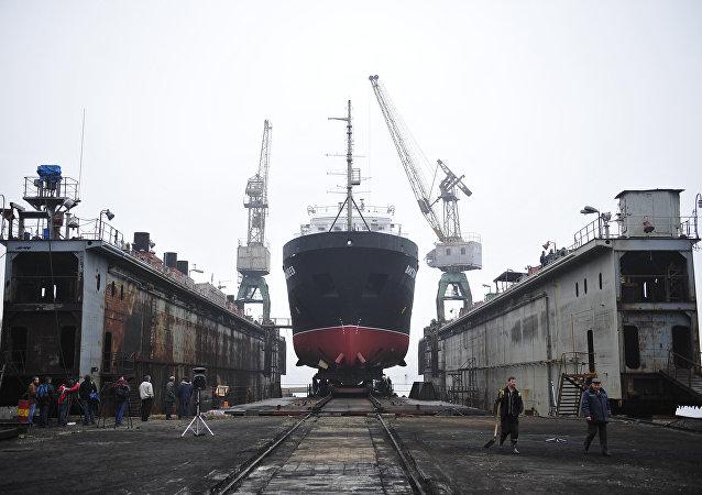 俄国防部为东方造船厂分配为太平洋舰队舰艇建造码头的订单