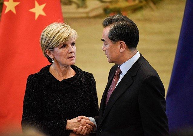 中国外交部长王毅与澳大利亚外长毕晓普