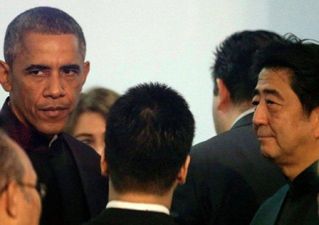 奥巴马与安倍普三