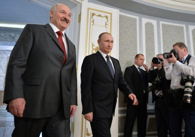 普京在明斯克与白俄罗斯总统亚历山大·卢卡申科