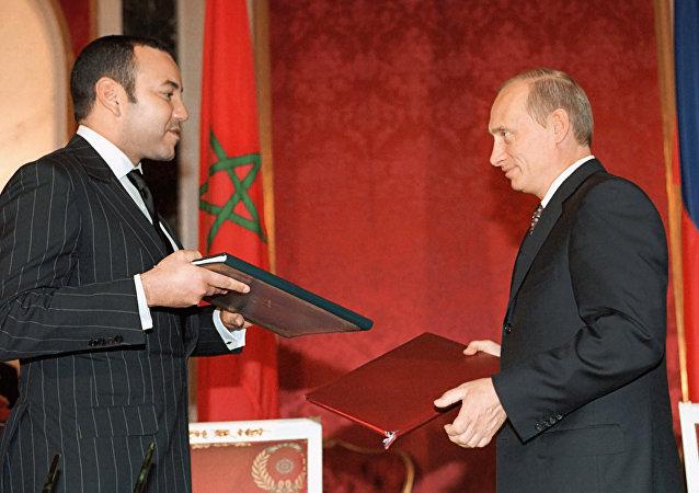 俄总统弗拉基米尔•普京与摩洛哥国王穆罕默德六世