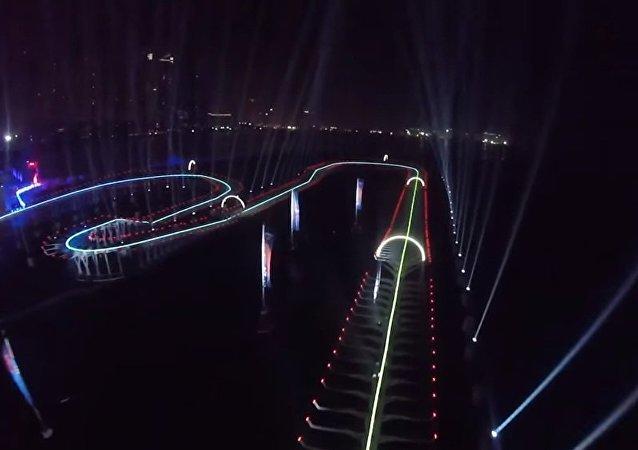 在迪拜举行的无人机竞速赛