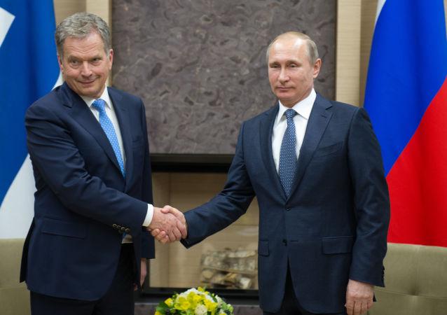 俄罗斯总统普京在与芬兰总统尼尼斯托的会晤上