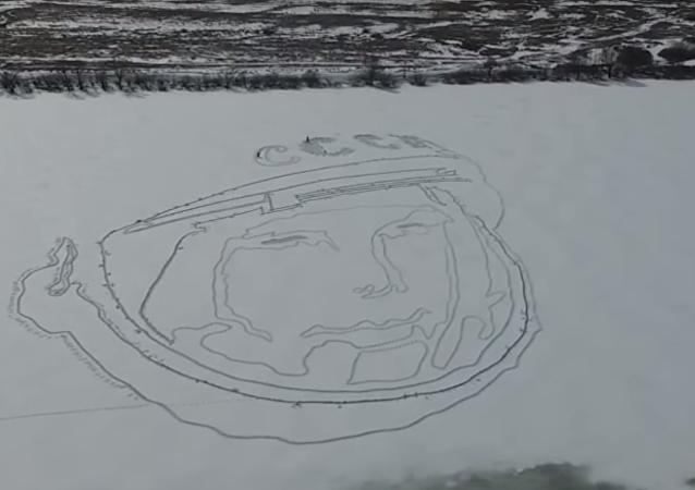 加加林在死海上的肖像画