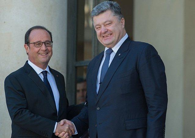 法国总统奥朗德和乌克兰总统波罗申科