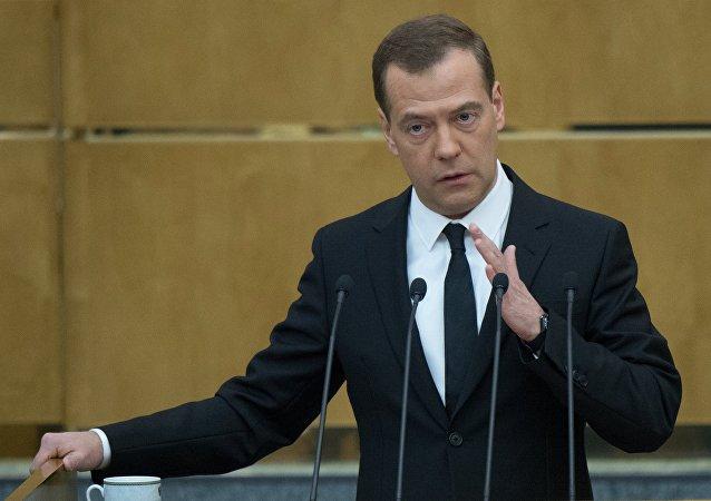 俄罗斯总理梅德韦杰夫在国家杜马上作政府工作报告
