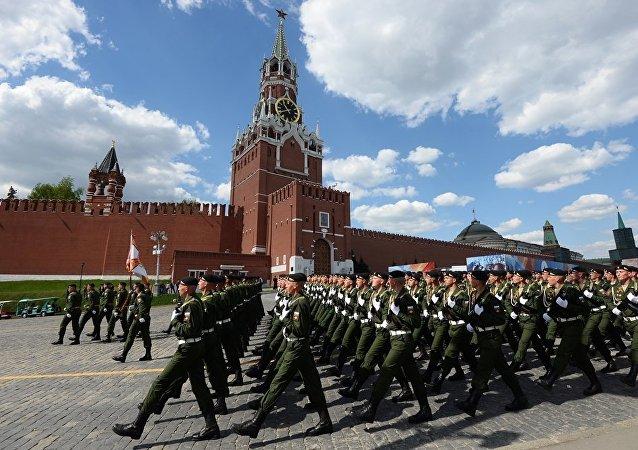 在莫斯科红场进行了胜利阅兵式前的最后彩排