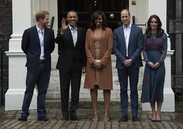 英哈里王子,贝拉克•奥巴马、米歇尔•奥巴马、威廉王子、凯特王妃/资料图片/