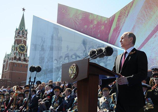 普京红场阅兵式讲话向俄罗斯国民祝贺胜利日