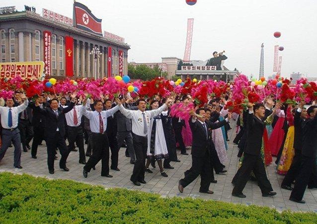 平壤举行了大规模的群众游行活动