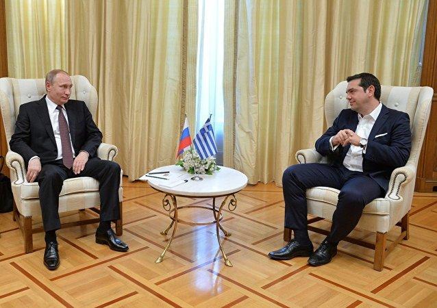 希腊总理齐普拉斯与俄总统普京