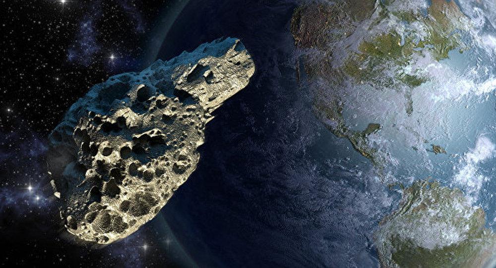 地球和小行星图画