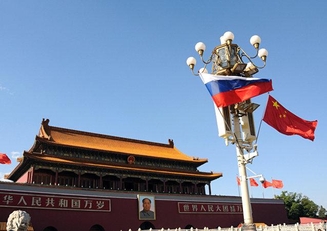 俄中国旗在天安门广场