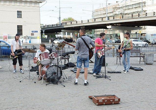 莫斯科街头的音乐家们