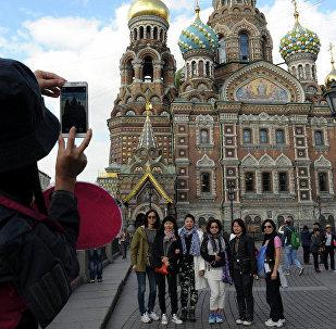 中国旅客在圣彼得堡/资料图片/