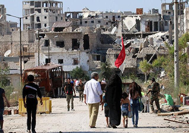 俄国防部:14吨人道物资运抵叙利亚阿勒颇检查站地区